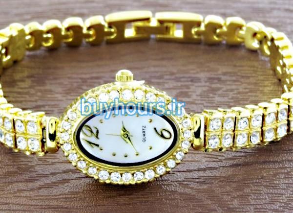 ساعت دخترانه مجلسی مدل سال در رنگ های نقره ای - طلایی - مسی با دور نگین دار رویال کرون